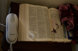 A Bible that has sat on my grandmother's end table ever since I can remember.