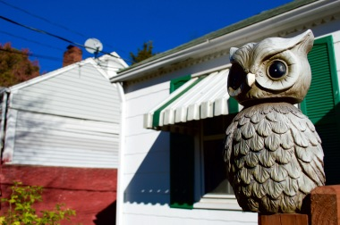 One of my grandmother's many porch decorations, these statues can be found all up the street.